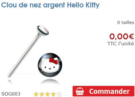 Clou de nez argent Hello Kitty