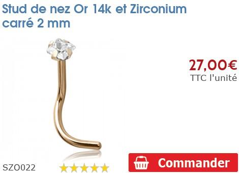 Stud de nez Or 14K et Zirconium carré 2mm