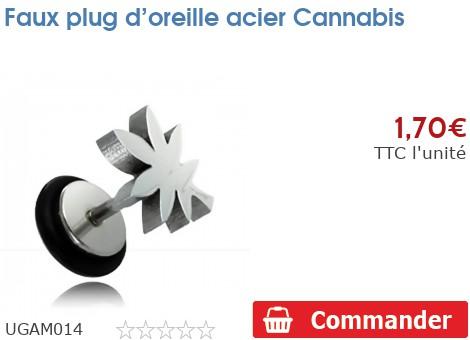 Faux plug d'oreille acier Cannabis
