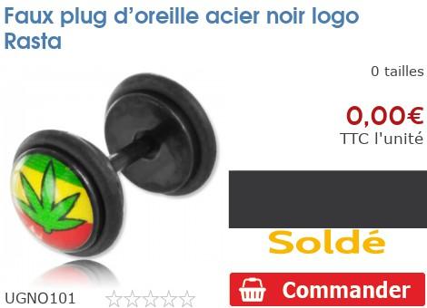 Faux plug d'oreille acier noir logo Rasta
