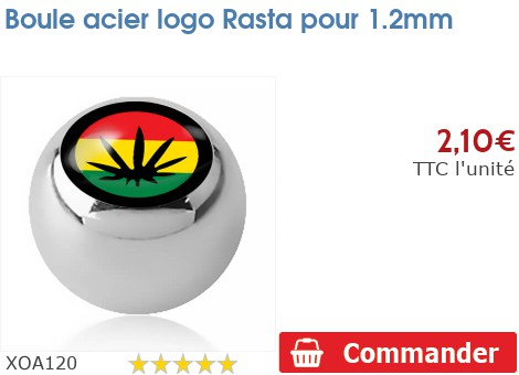 Boule acier logo Rasta pour 1.2mm