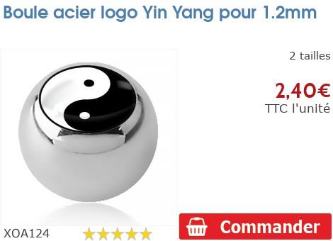 Boule acier logo Yin Yang pour 1.2mm