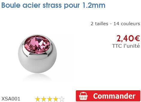 Boule acier strass pour 1.2mm
