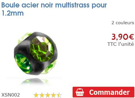 Boule acier noir multistrass pour 1.2mm