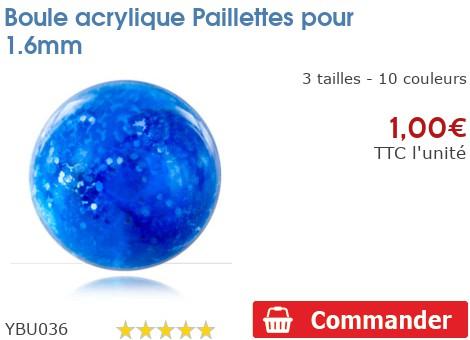 Boule acrylique Paillettes pour 1.6mm