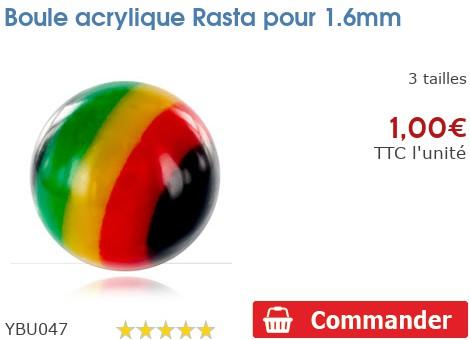 Boule acrylique Rasta pour 1.6mm