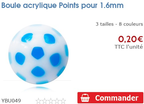 Boule acrylique Points pour 1.6mm