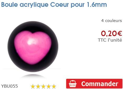 Boule acrylique Coeur pour 1.6mm
