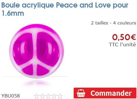 Boule acrylique Peace and Love pour 1.6mm