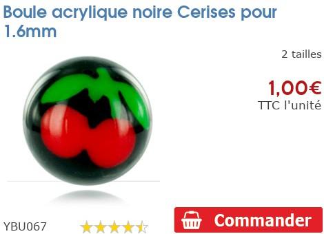Boule acrylique noire Cerises pour 1.6mm