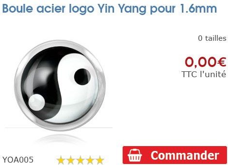 Boule acier logo Yin Yang pour 1.6mm