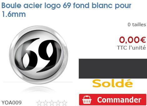 Boule acier logo 69 fond blanc pour 1.6mm