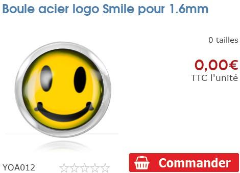 Boule acier logo Smiley pour 1.6mm