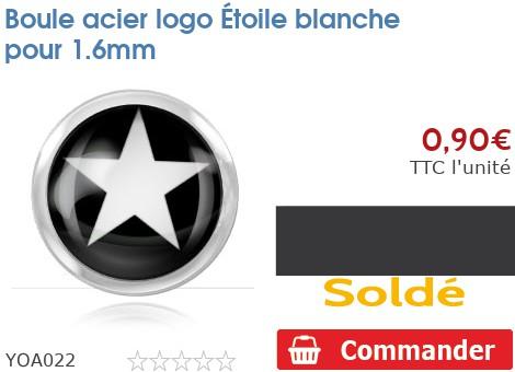 Boule acier logo Étoile blanche pour 1.6mm
