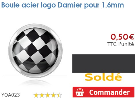 Boule acier logo Damier pour 1.6mm
