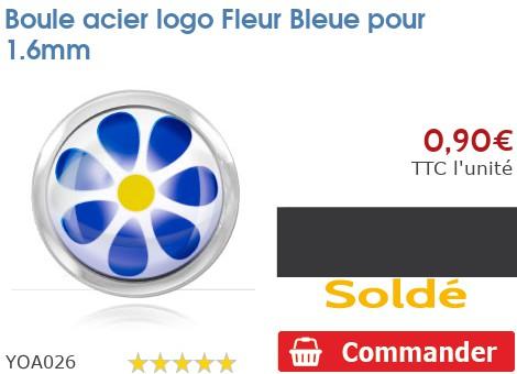 Boule acier logo Fleur Bleue pour 1.6mm