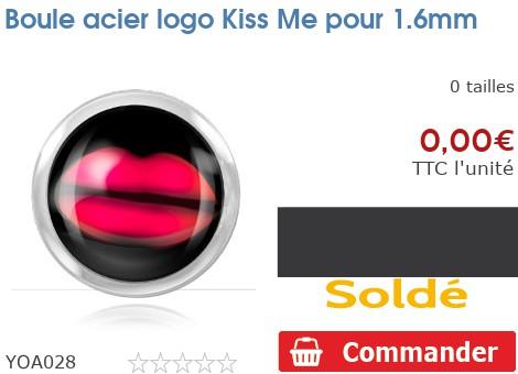 Boule acier logo Kiss Me pour 1.6mm