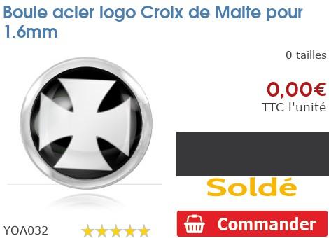 Boule acier logo Croix de Malte pour 1.6mm
