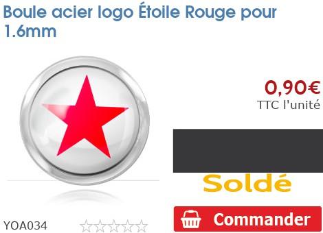 Boule acier logo Étoile Rouge pour 1.6mm