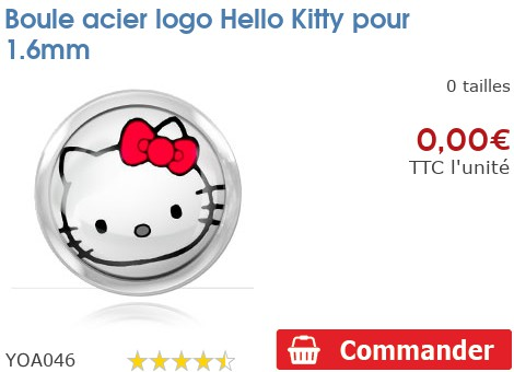 Boule acier logo Hello Kitty pour 1.6mm