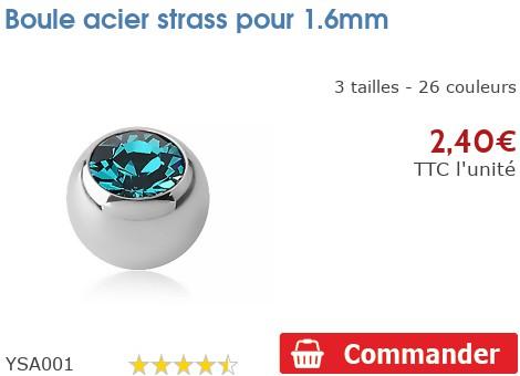 Boule acier strass pour 1.6mm