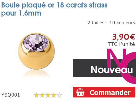 Boule plaqué or 18 carats strass pour 1.6mm