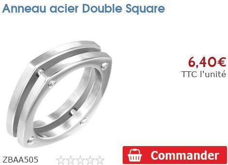 Anneau acier Double Square