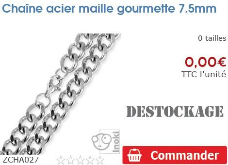 Chaîne acier maille gourmette 7.5mm