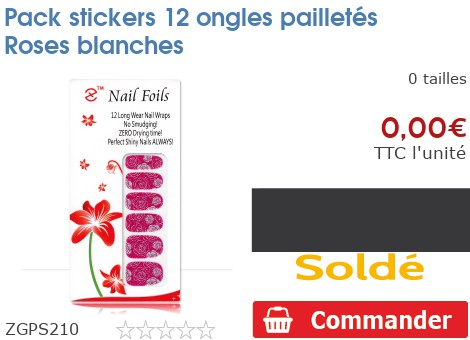 Pack stickers 12 ongles pailletés Roses blanches