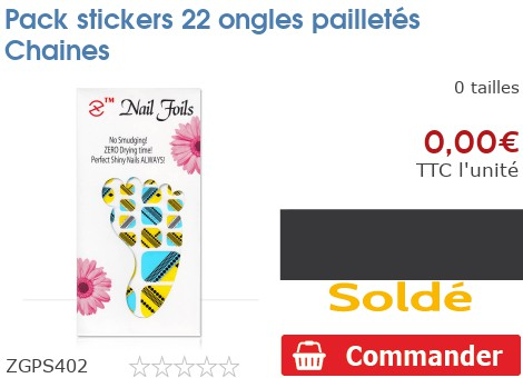 Pack stickers 22 ongles pailletés Chaines