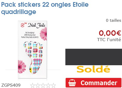 Pack stickers 22 ongles Etoile quadrillage