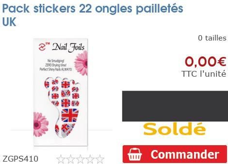 Pack stickers 22 ongles pailletés UK
