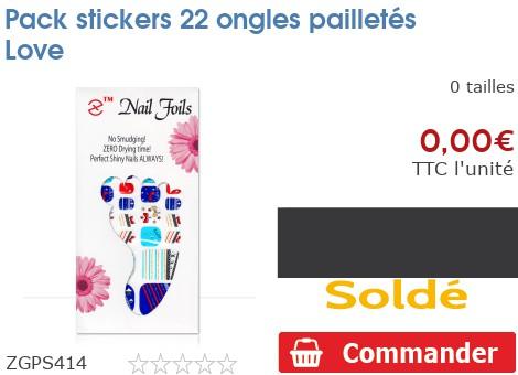 Pack stickers 22 ongles pailletés Love