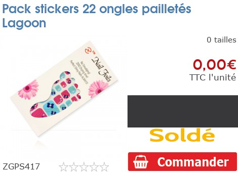 Pack stickers 22 ongles pailletés Lagoon