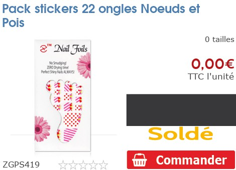 Pack stickers 22 ongles Noeuds et Pois
