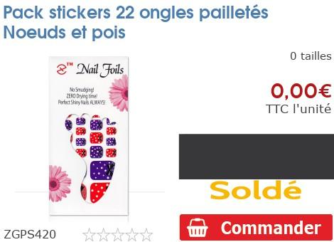 Pack stickers 22 ongles pailletés Noeuds et pois
