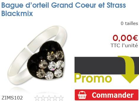 Bague d'orteil Grand Coeur et Strass Blackmix
