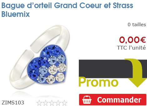 Bague d'orteil Grand Coeur et Strass Bluemix