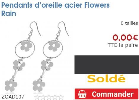 Pendants d'oreille acier Flowers Rain