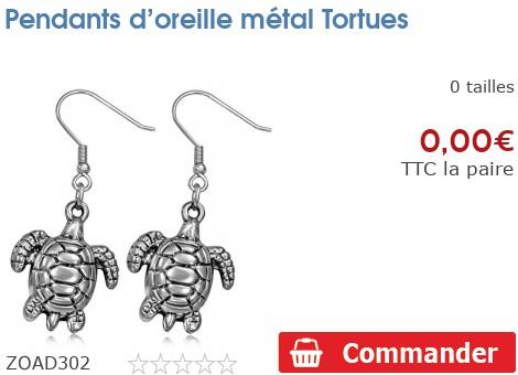 Pendants d'oreille métal Tortues