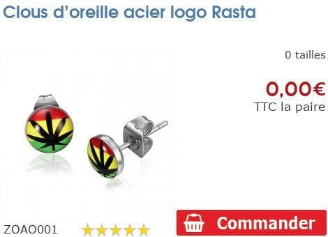 Clous d'oreille acier logo Rasta