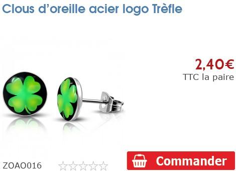 Clous d'oreille acier logo Trèfle