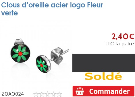 Clous d'oreille acier logo Fleur verte