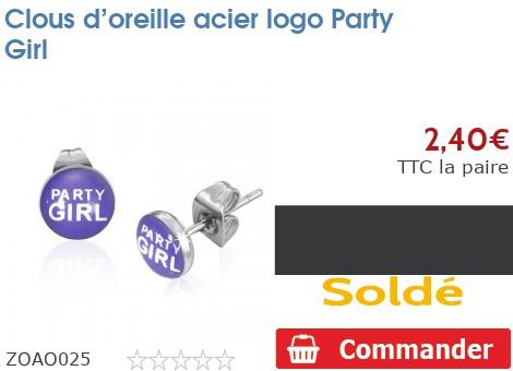 Clous d'oreille acier logo Party Girl