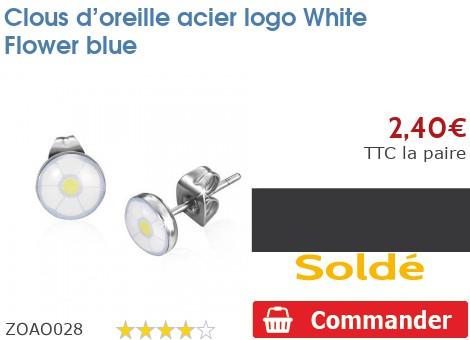 Clous d'oreille acier logo White Flower blue