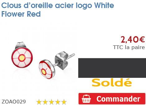 Clous d'oreille acier logo White Flower Red
