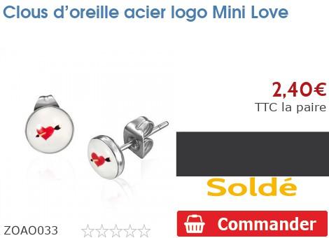 Clous d'oreille acier logo Mini Love