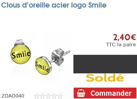 Clous d'oreille acier logo Smile