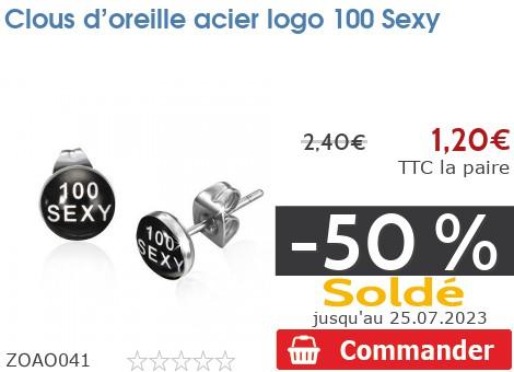 Clous d'oreille acier logo 100 Sexy
