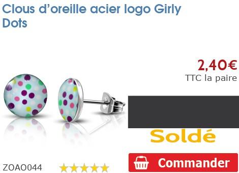 Clous d'oreille acier logo Girly Dots